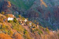 Деревня во время захода солнца, Тенерифе Masca, Испания Стоковые Изображения RF