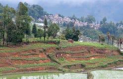 Деревня в графстве Yuanyang, Юньнань, Китае Стоковые Фотографии RF