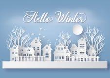 Деревня города ландшафта сельской местности снега зимы городская с ful lm иллюстрация штока