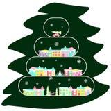 Деревня зимы на рождественской елке иллюстрация штока