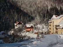 Деревня зимы снежная на предпосылке ландшафта соснового леса Стоковое Изображение RF