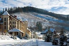 Деревня зимы снежная на предпосылке ландшафта соснового леса Стоковое фото RF