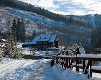 Деревня зимы снежная на предпосылке ландшафта соснового леса Стоковые Изображения