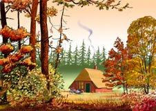 Деревня иллюстрации Стоковая Фотография RF