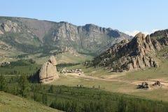 Деревня Монголия Yurt Стоковое Изображение RF