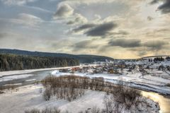 Деревня на реке Стоковые Изображения RF