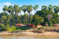 Деревня на реке Irrawaddy Irrawaddy, Мандалае, Мьянме, Бирме Скопируйте космос для текста стоковые фотографии rf