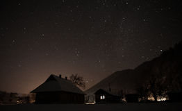 Деревня ночи Стоковые Изображения