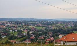 Деревня от высоты Справочная информация Стоковые Изображения RF