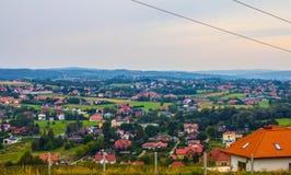 Деревня от высоты Справочная информация Стоковое Фото