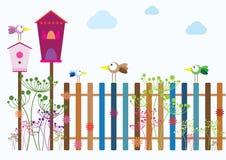 Деревня птицы весны иллюстрация штока
