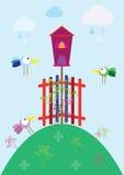Деревня птицы весны иллюстрация вектора