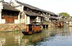 Деревня реки в Китае Стоковые Изображения RF