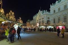Деревня рождества дворца бельведера в вене, Австрии Стоковые Изображения RF
