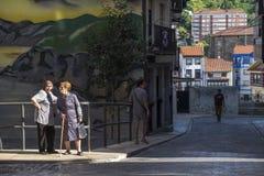 Деревня рыболова Bermeo в побережье Баскония Europ Стоковое Изображение