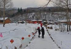 Деревня снега в графстве Mohe, Китае стоковая фотография