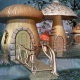 Деревня фантазии сделанная грибов иллюстрация вектора