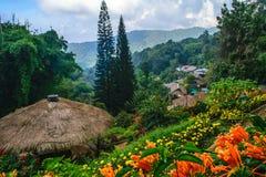 Деревня холма племени Hmong Стоковая Фотография RF