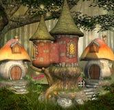 Деревня эльфов фантазии иллюстрация вектора