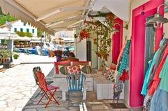 Деревня Fiskardo, остров Kefalonia, Ionian острова, Греция Стоковое Изображение RF