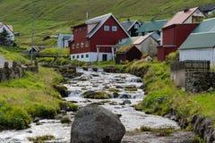 Деревня Gjogv на острове Eysturoy на Faroe Islads Стоковая Фотография RF