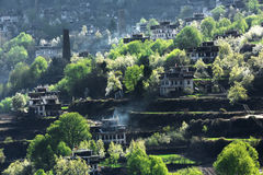 Деревня Jiaju тибетская Сычуань Китая Стоковое фото RF