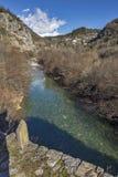 Деревня Kipoi и река горы, горы Pindus, Zagori, Epirus Стоковое Изображение