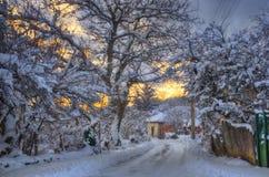Деревня Komshtitsa, Болгария - изображение зимы Стоковые Фото