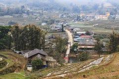 Деревня Lao Cai около Sapa в северном Вьетнаме Sapa известно для террас риса Стоковое Фото