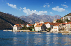 Деревня Lepetane kotor montenegro залива Стоковое Фото
