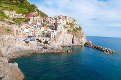 Деревня Manarola и Cinque Terre Стоковые Изображения