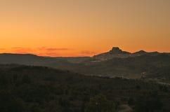 Деревня Morella на заходе солнца Стоковая Фотография