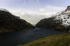 Деревня Saksun живописная Streymoy Фарерские острова, Дания, Стоковые Изображения RF
