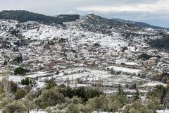 Деревня Sirince, деревня Sirince под снегом Стоковое фото RF
