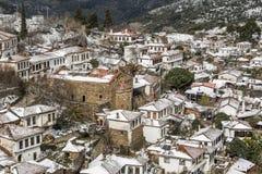 Деревня Sirince, деревня Sirince под снегом Стоковое Изображение
