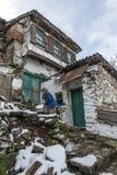 Деревня Sirince, деревня Sirince под снегом Стоковая Фотография