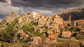 Деревня Speloncato в зоне Balagne Корсики Стоковые Изображения RF