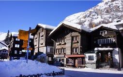 Деревня Zermatt, Швейцария Стоковая Фотография