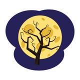 Дерево без листьев на фоне полнолуния, праздника хеллоуина, атрибута, значка, вектора, иллюстрации иллюстрация вектора