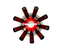 Дерево бутылки с бутылками от верхней части на белой предпосылке Стоковое Изображение RF