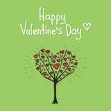 Дерево валентинки с вектором сердец Стоковые Фото