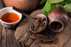 Дерево винта восточного индейца и чай, тайская трава для здоровья на деревянном b Стоковое Изображение RF