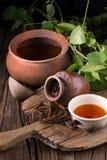 Дерево винта восточного индейца и чай, тайская трава для здоровья на деревянном b Стоковая Фотография