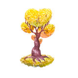 Дерево влюбленности в акварели Стоковые Фотографии RF
