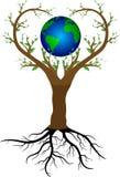 Дерево влюбленности и земля планеты иллюстрация вектора