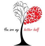 Дерево влюбленности - карточка подарка дня валентинок Стоковое Изображение