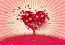 Дерево влюбленности с листьями сердца иллюстрация вектора