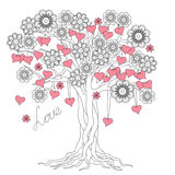 Дерево влюбленности с корнями и цветками Стоковое фото RF