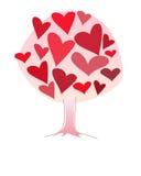 Дерево влюбленности Simbolic сделанное размеров розовых и красных сердец различных Стоковая Фотография RF