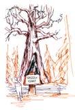Дерево гризли гигантское в парке секвойи иллюстрация вектора